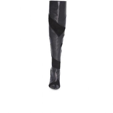 Дамски ботуши от естествена кожа и велур