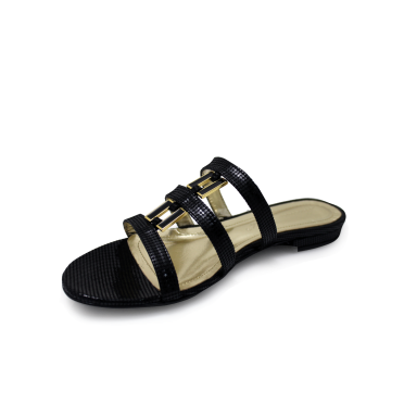 Дамски чехли естествен черен лак