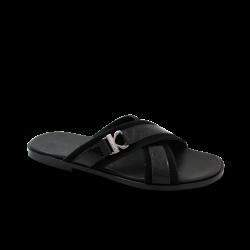Мъжки чехли от естествен велур с лак в черен цвят GN-1204