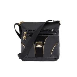 Дамска чанта естествена и еко кожа в черен цвят CV-405-88