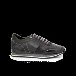 Мъжки спортни обувки естествена кожа в черно и сиво MRS-11475