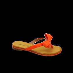 Дамски чехли естествен лак оранж