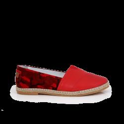 Дамски обувки от естествена червена кожа и велур