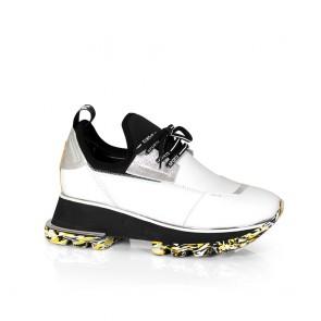 Дамски спортни обувки от естествена кожа и стреч ILV-2052-1