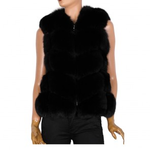 Дамски елек от естествена кожа в черен цвят
