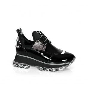 Дамски спортни обувки от естествен лак и стреч ILV-2052-1