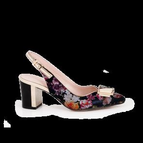 Дамски летни обувки от естествена кожа на щампа