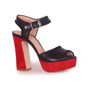 Дамски сандали от естествена кожа и велур
