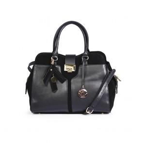 Дамска чанта от естествена кожа с велур