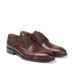 Мъжки обувки от естествена кожа и велур BRC-80121  - 2