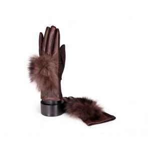 Дамски ръкавици от естествена кожа и текстил