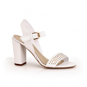 Дамски сандали естествена бяла кожа
