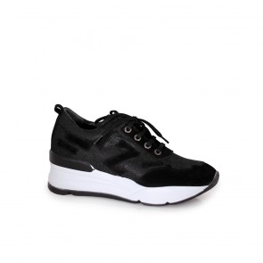 Дамски спортни обувки от естествена кожа и текстил