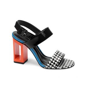 Дамски сандали от естествен лак и кожа DV-81-12