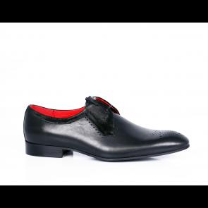 Мъжки официални обувки естествена кожа и велур