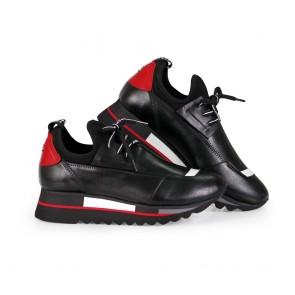 Дамски спортни обувки от естествена кожа и деним ILV-1080 - 2