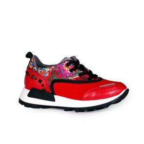 Дамски обувки от естествена кожа и текстил
