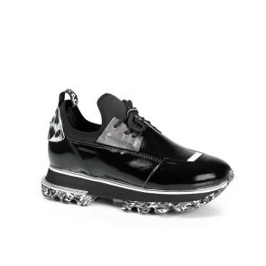 Дамски спортни обувки от естествен лак и стреч ILV-2052-2