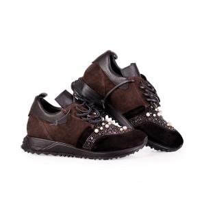 Дамски спортни обувки от естествен велур - 2