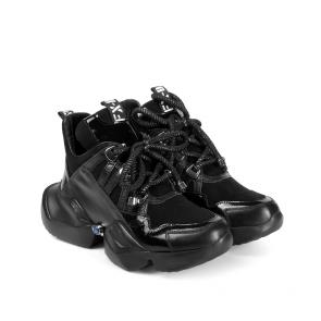 Дамски спортни обувки от естествен лак и велур ILV-2500 - 2