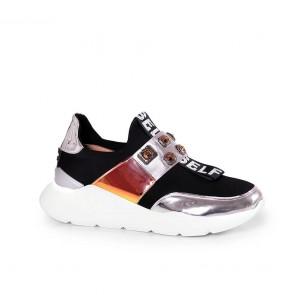 Дамски спортни обувки от естествен лак и стреч ILV-4001