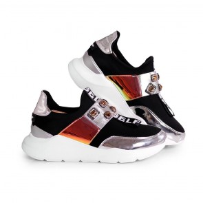 Дамски спортни обувки от естествен лак и стреч ILV-4001 - 2