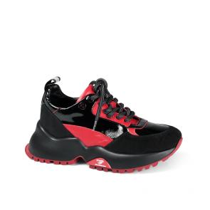 Дамски спортни обувки от начупен лак и кожа ILV-4577