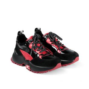 Дамски спортни обувки от начупен лак и кожа ILV-4577 - 2