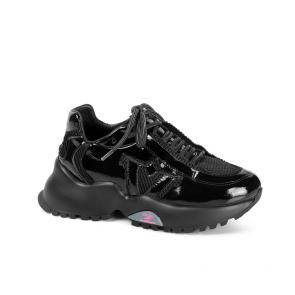 Дамски спортни обувки от естествен лак и текстил ILV-4636