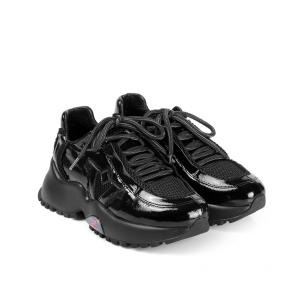 Дамски спортни обувки от естествен лак и текстил ILV-4636 - 2