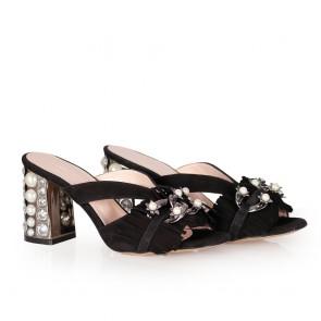 Дамски чехли от естествен велур - 2