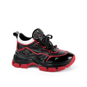Дамски спортни обувки от начупен лак и кожа ILV-7203
