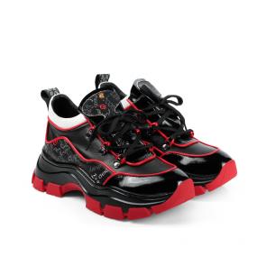 Дамски спортни обувки от начупен лак и кожа ILV-7203 - 2