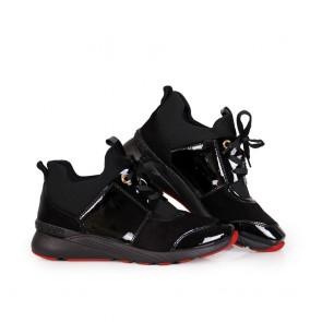Дамски спортни обувки от естествен лак и велур - 2