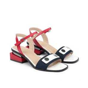 Дамски сандали от естествена кожа и лак KM-100-412 - 2