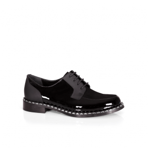 Дамски обувки от естествен лак и кожа KM-17-418
