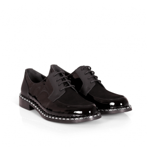 Дамски обувки от естествен лак и кожа KM-17-418 - 2
