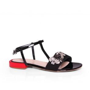 Дамски сандали от естествена велур и лак KM-298-03