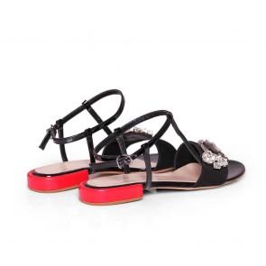 Дамски сандали от естествена велур и лак KM-298-03 - 2