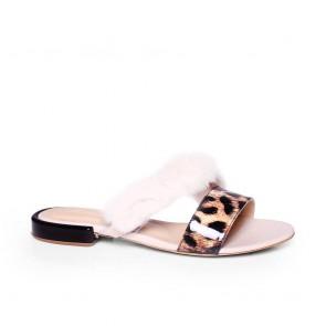 Дамски чехли от естествен лак KM-298-04