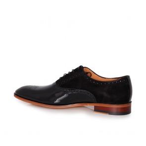 Мъжки официални обувки от естествен лак и велур - 2