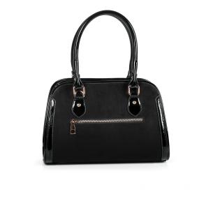 Дамска чанта от еко велур и лак MZ-530105 - 2