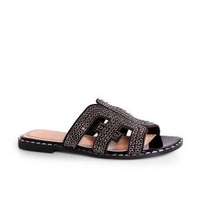 Дамски чехли от естествен велур и лак NFR-3104