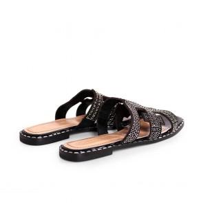 Дамски чехли от естествен велур и лак NFR-3104 - 2