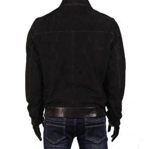 Мъжко яке от естествен велур и кожа  - 2