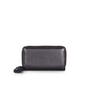 Дамско портмоне от естествена кожа в черен цвят - 2