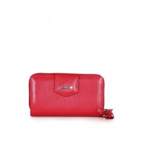 Дамско портмоне от естествена кожа в червен цвят GRD-2213