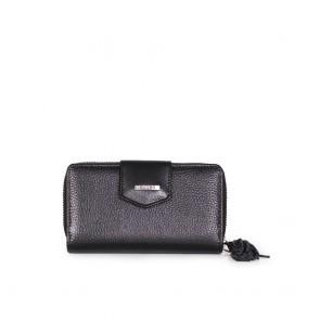 Дамско портмоне от естествена кожа в черен цвят