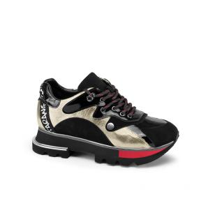 Дамски спортни обувки от естествен лак и велур SD-2746