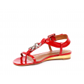 Дамски сандали естествен червен лак - 2t